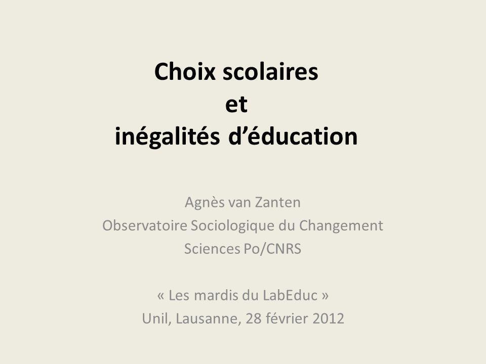 Choix scolaires et inégalités d'éducation
