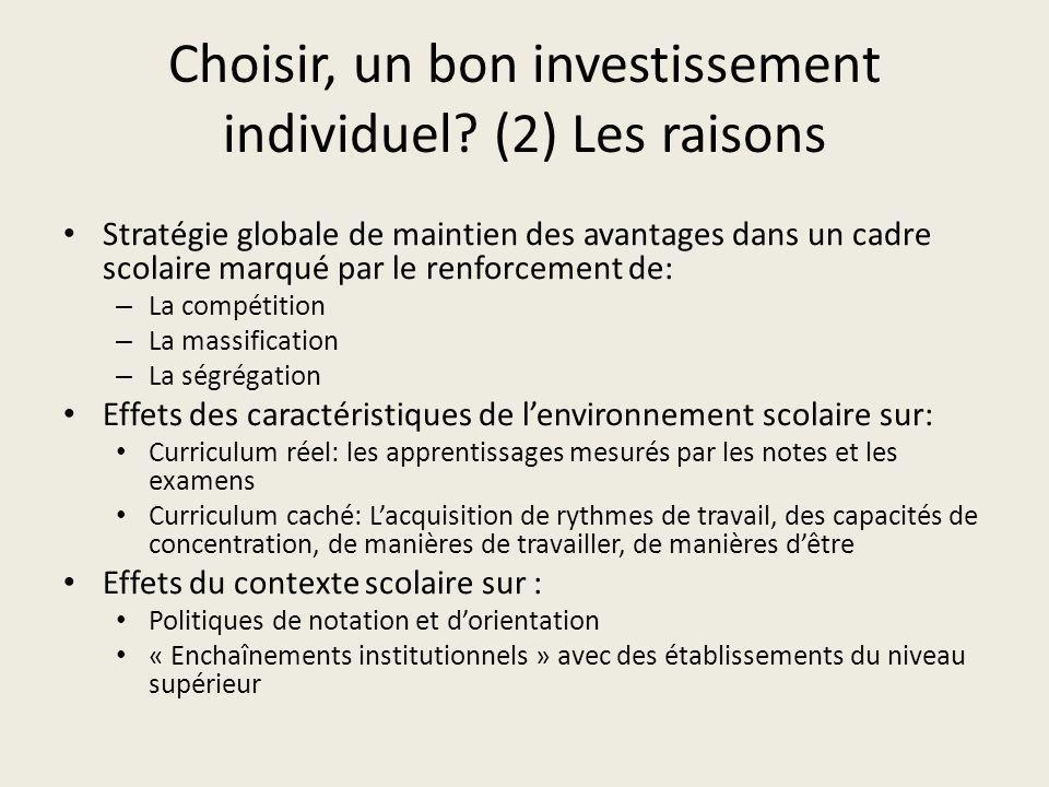 Choisir, un bon investissement individuel (2) Les raisons