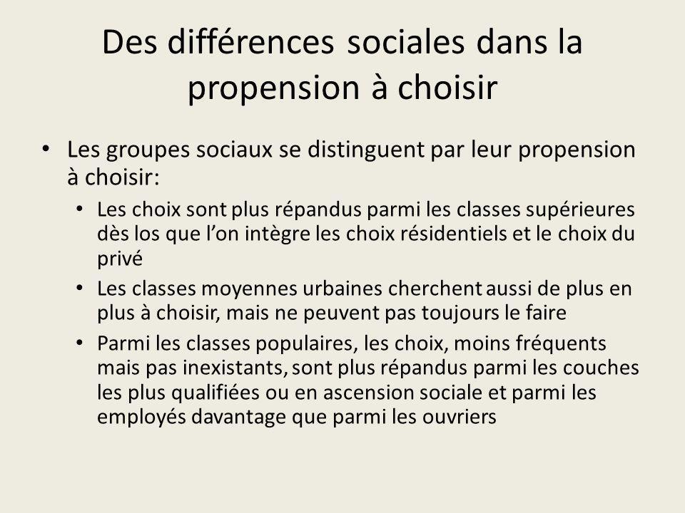 Des différences sociales dans la propension à choisir