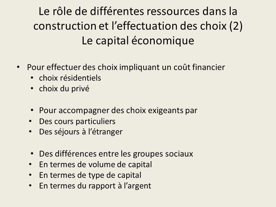 Le rôle de différentes ressources dans la construction et l'effectuation des choix (2) Le capital économique
