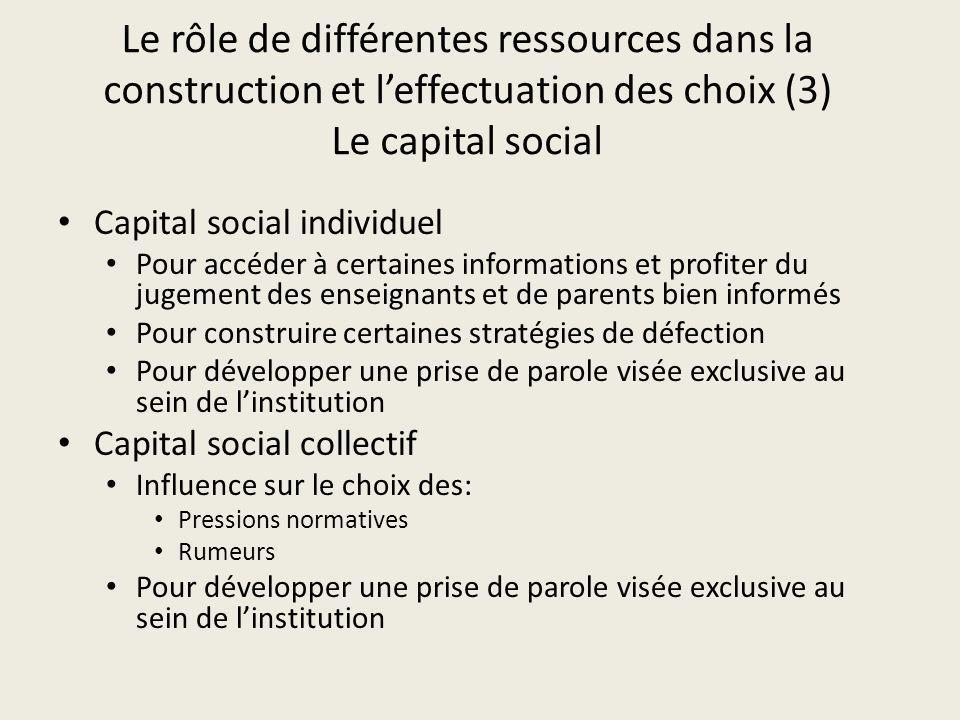 Le rôle de différentes ressources dans la construction et l'effectuation des choix (3) Le capital social