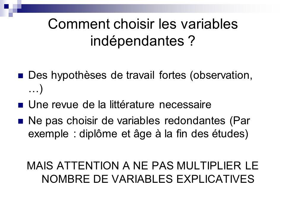 Comment choisir les variables indépendantes