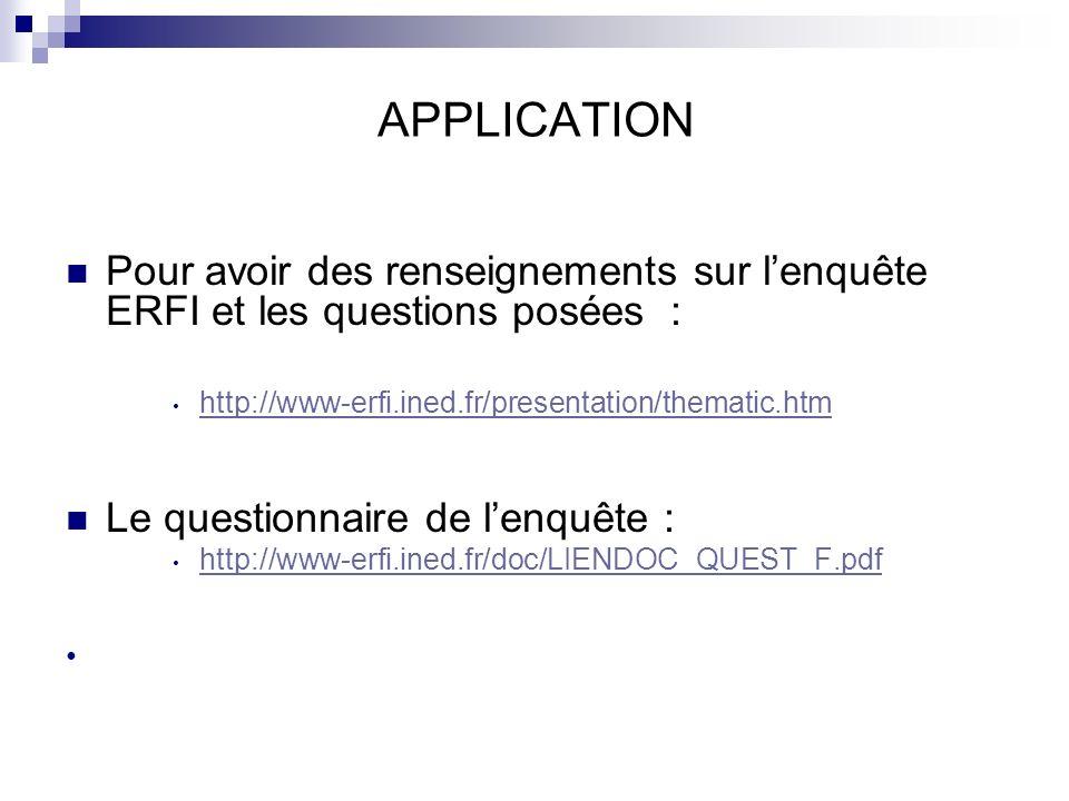 APPLICATION Pour avoir des renseignements sur l'enquête ERFI et les questions posées : http://www-erfi.ined.fr/presentation/thematic.htm.