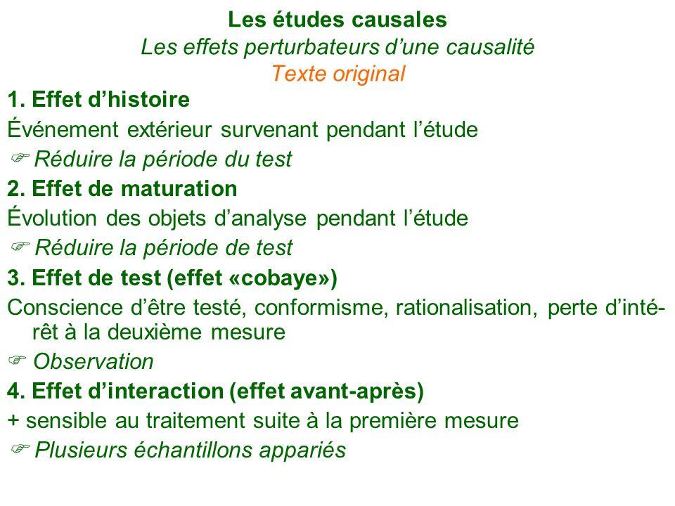 Les études causales Les effets perturbateurs d'une causalité Texte original