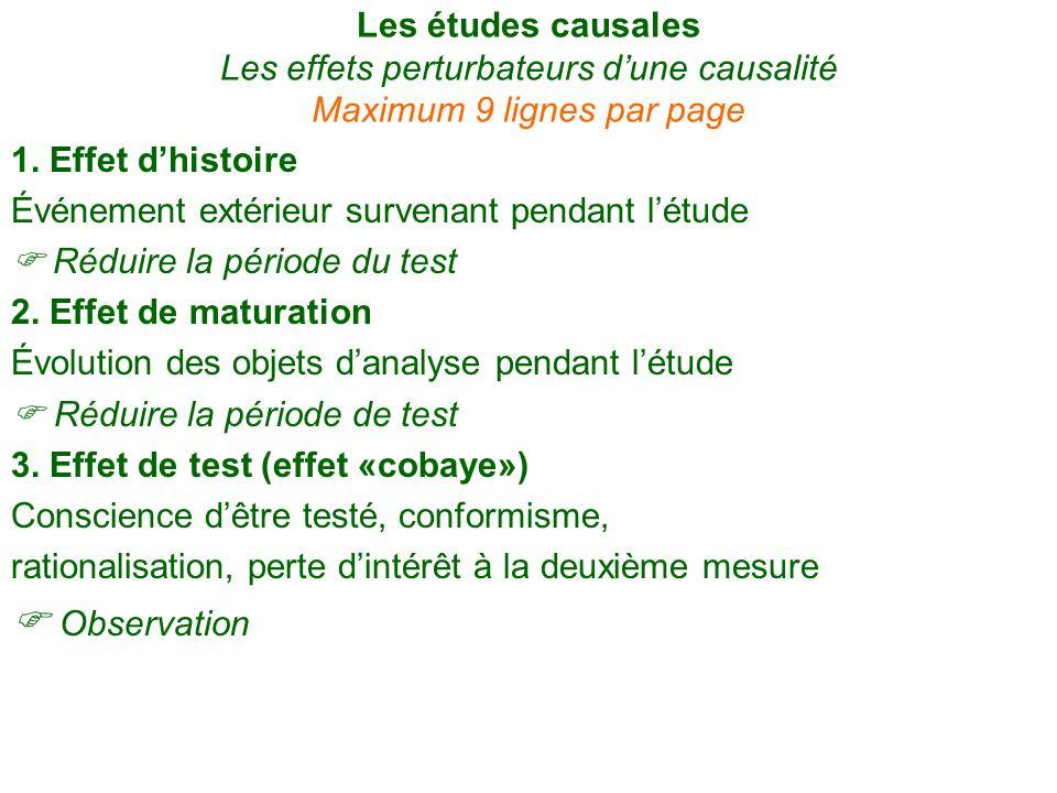 Les études causales Les effets perturbateurs d'une causalité Maximum 9 lignes par page