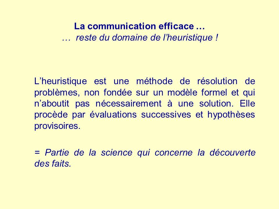 La communication efficace … … reste du domaine de l'heuristique !