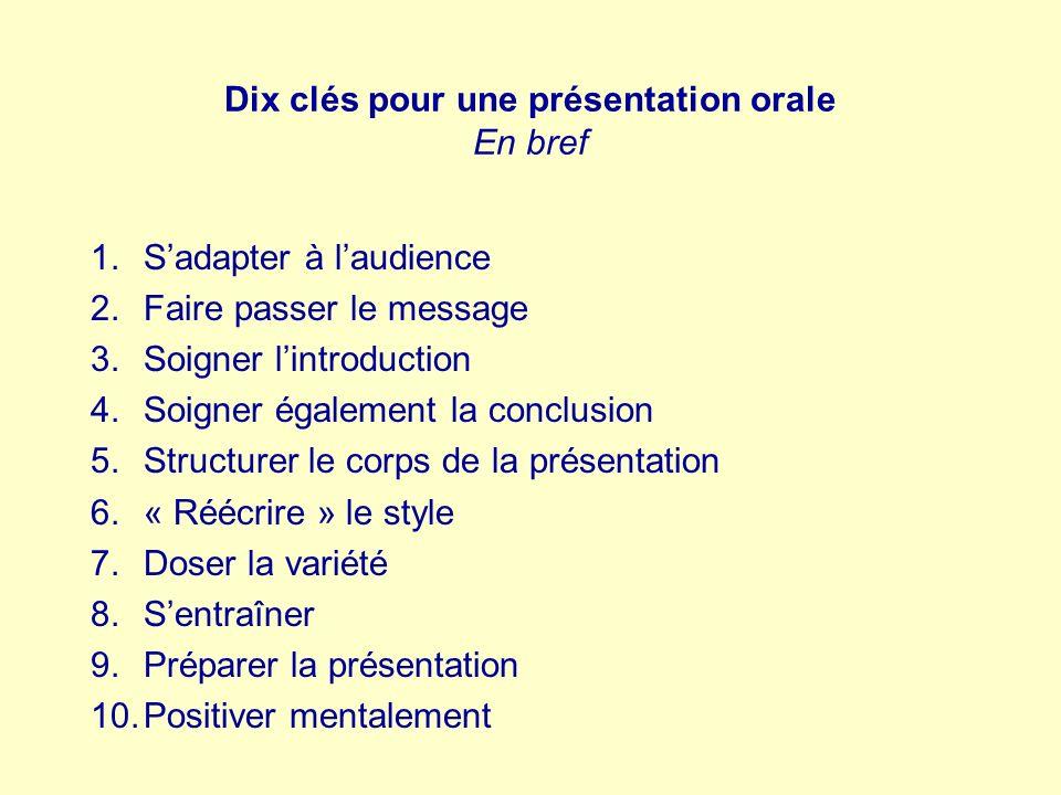 Dix clés pour une présentation orale En bref