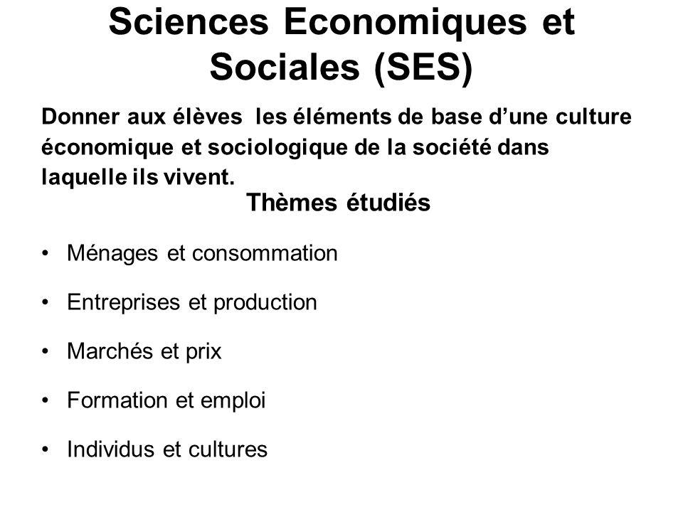 Sciences Economiques et Sociales (SES)
