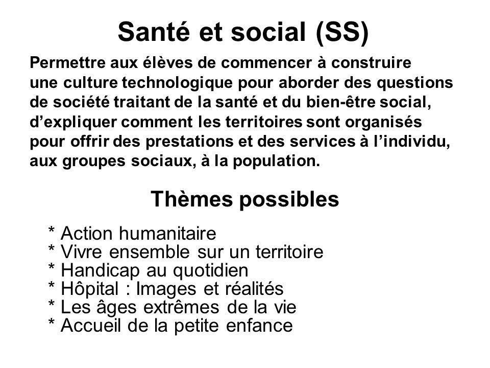 Santé et social (SS) Thèmes possibles