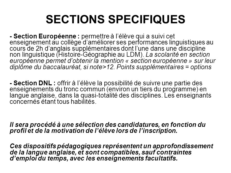 SECTIONS SPECIFIQUES