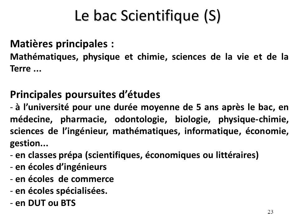 Le bac Scientifique (S)