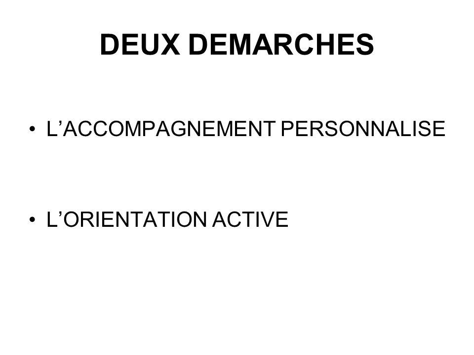DEUX DEMARCHES L'ACCOMPAGNEMENT PERSONNALISE L'ORIENTATION ACTIVE