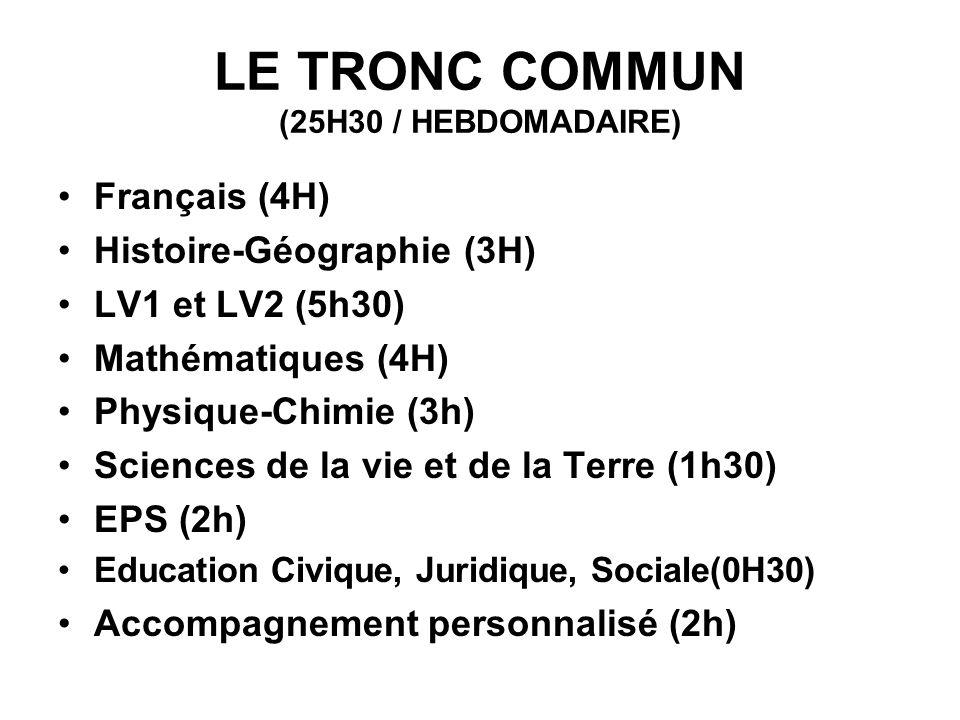 LE TRONC COMMUN (25H30 / HEBDOMADAIRE)