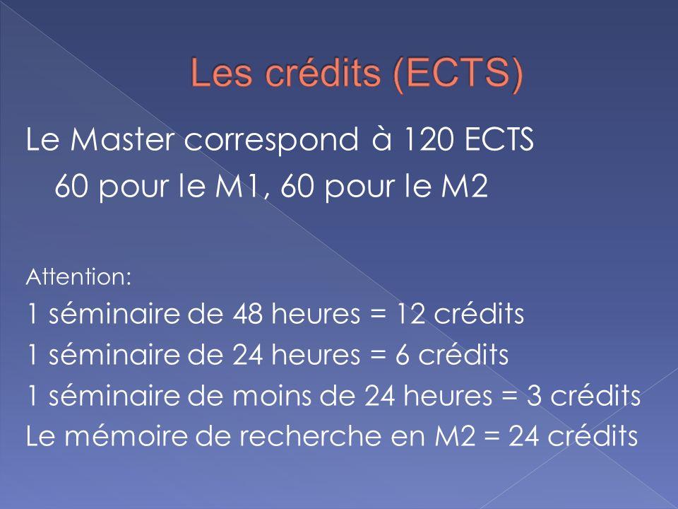 Les crédits (ECTS) Le Master correspond à 120 ECTS