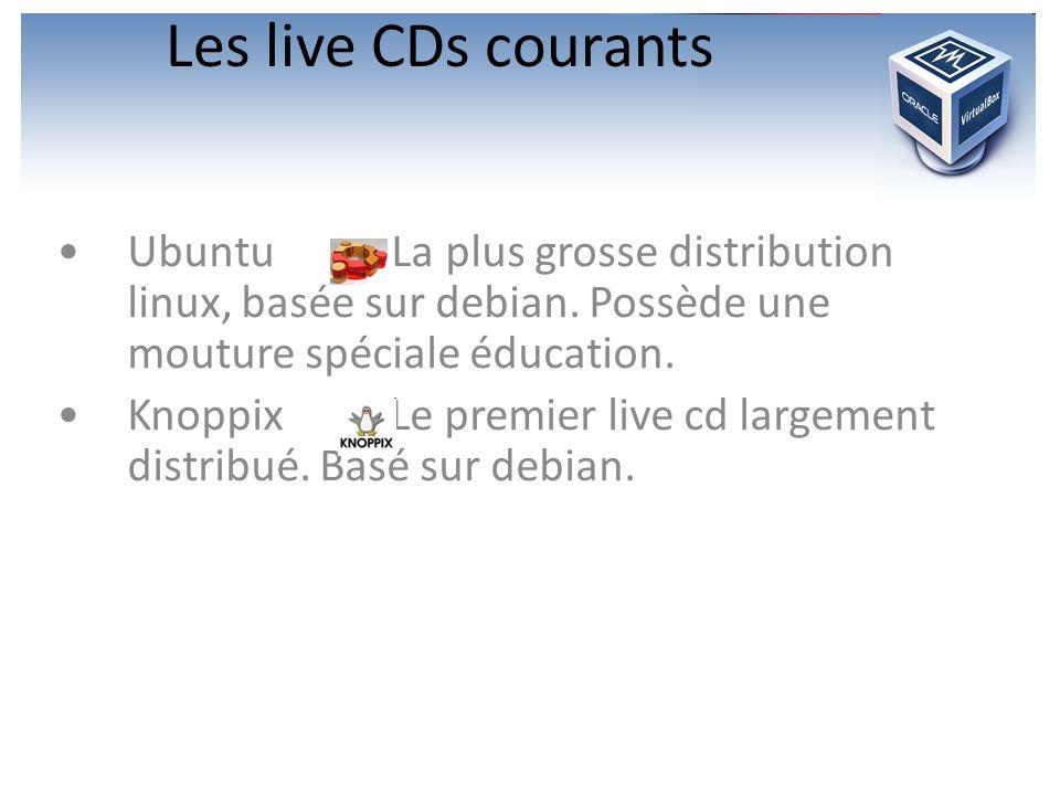 Les live CDs courants Ubuntu : La plus grosse distribution linux, basée sur debian. Possède une mouture spéciale éducation.