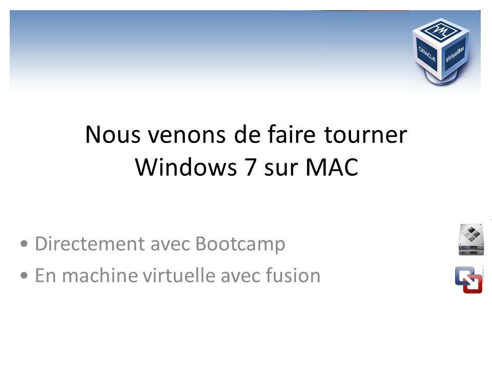 Nous venons de faire tourner Windows 7 sur MAC