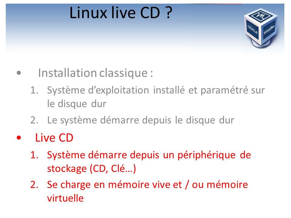Linux live CD Installation classique : Live CD