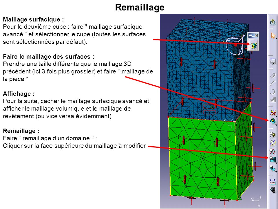 Remaillage Maillage surfacique :