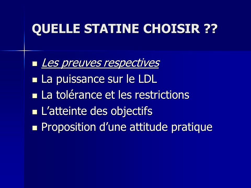 QUELLE STATINE CHOISIR