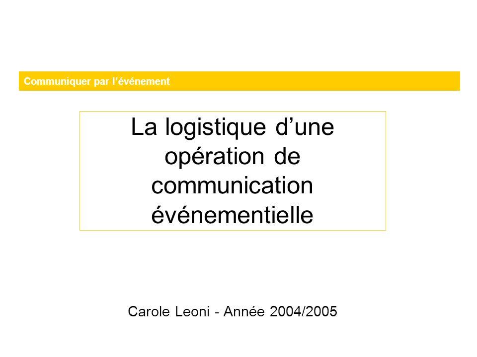 La logistique d'une opération de communication événementielle