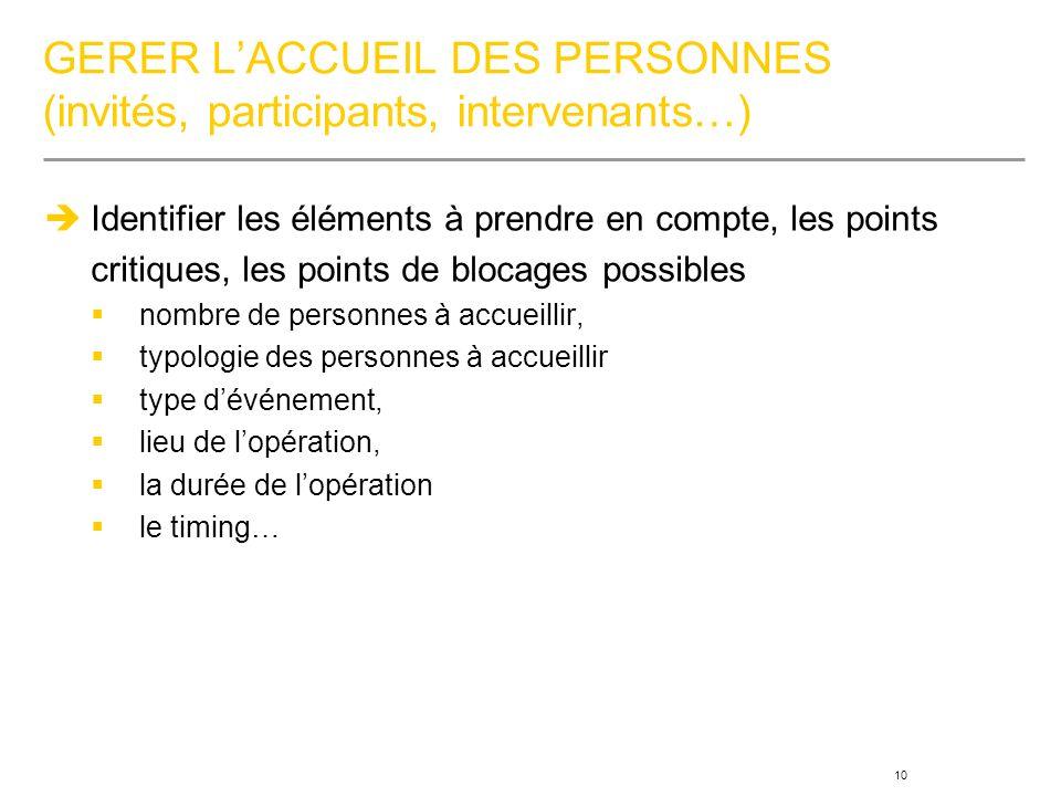 GERER L'ACCUEIL DES PERSONNES (invités, participants, intervenants…)