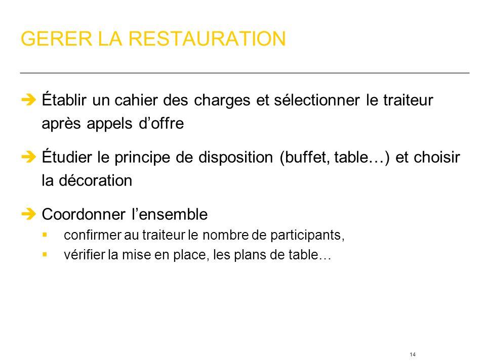 GERER LA RESTAURATION Établir un cahier des charges et sélectionner le traiteur après appels d'offre.