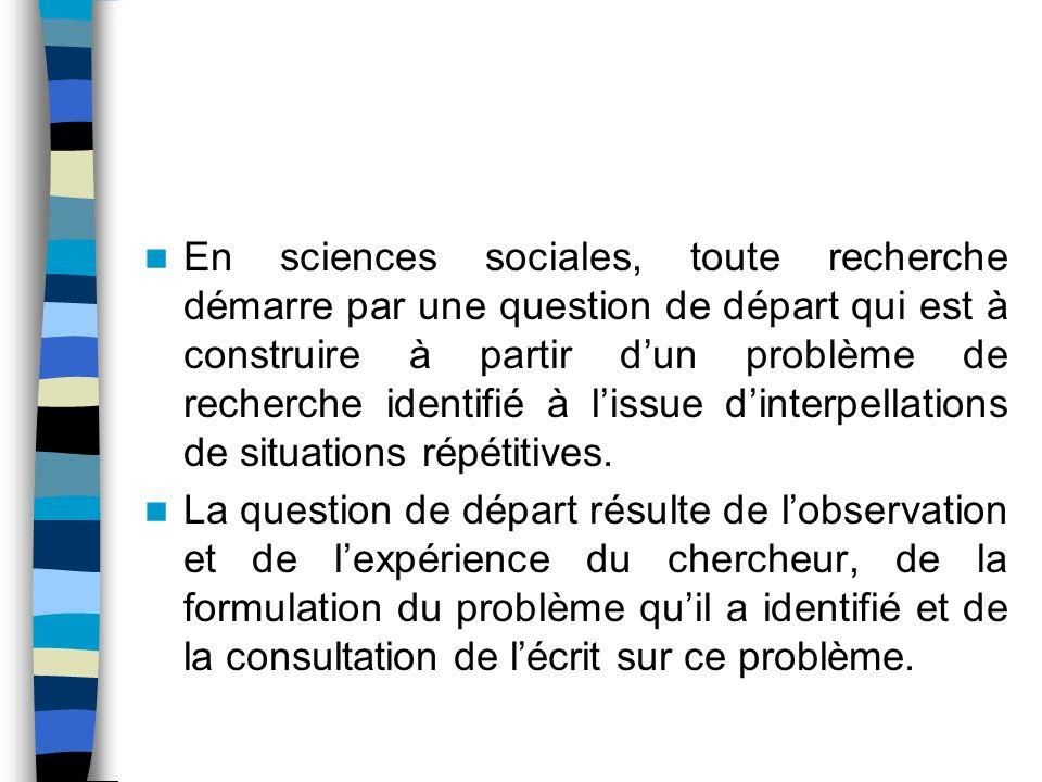 En sciences sociales, toute recherche démarre par une question de départ qui est à construire à partir d'un problème de recherche identifié à l'issue d'interpellations de situations répétitives.