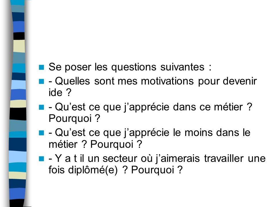 Se poser les questions suivantes :
