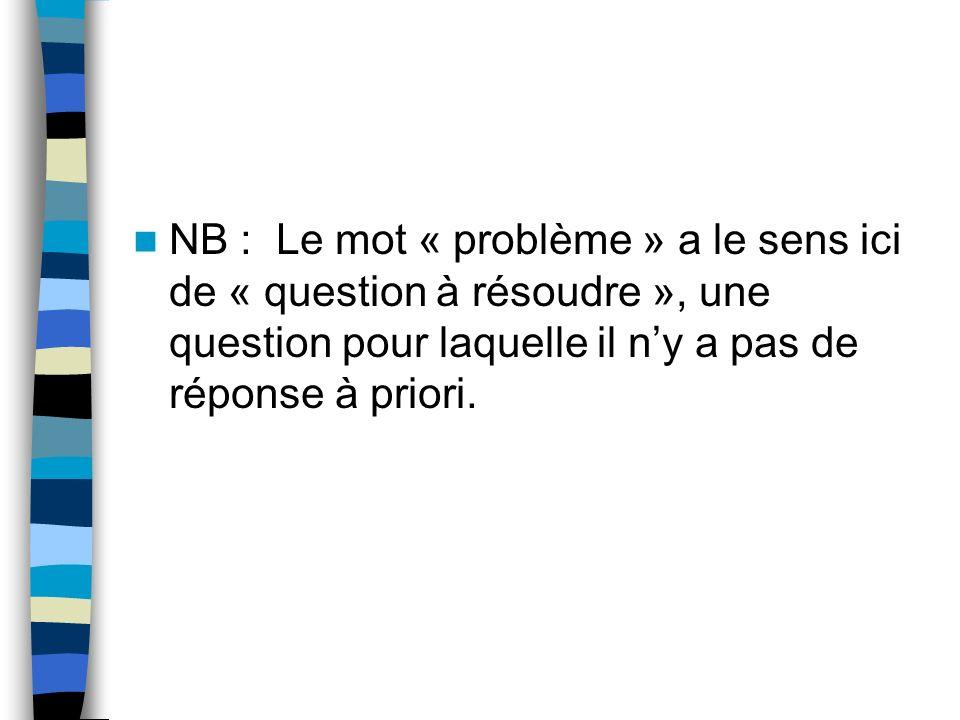 NB : Le mot « problème » a le sens ici de « question à résoudre », une question pour laquelle il n'y a pas de réponse à priori.