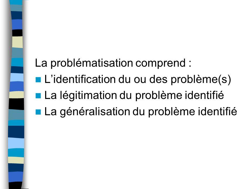 La problématisation comprend :