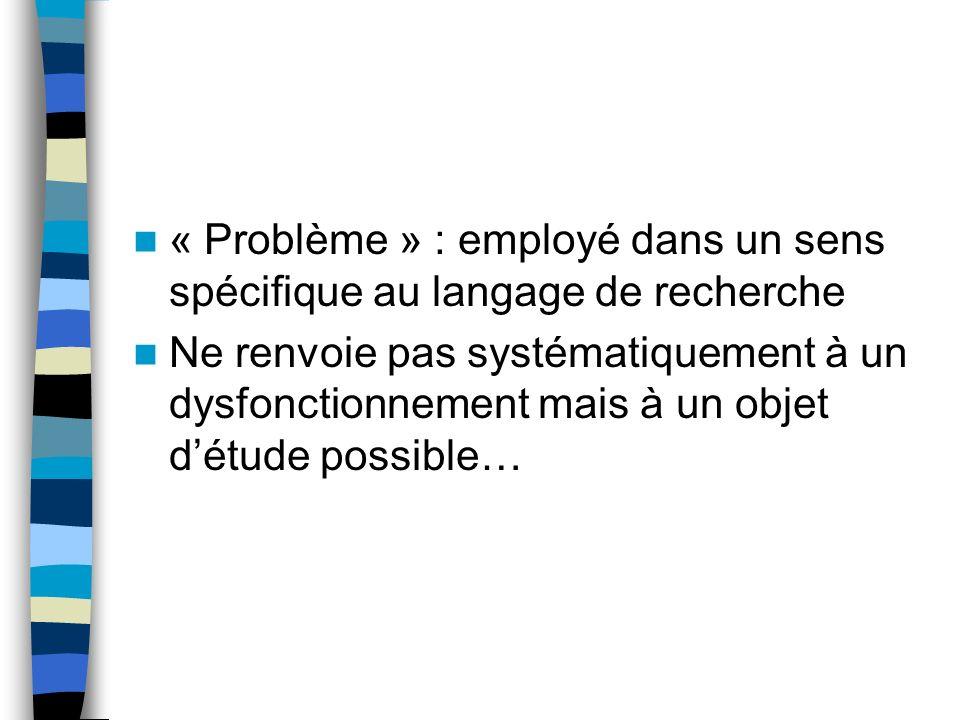« Problème » : employé dans un sens spécifique au langage de recherche