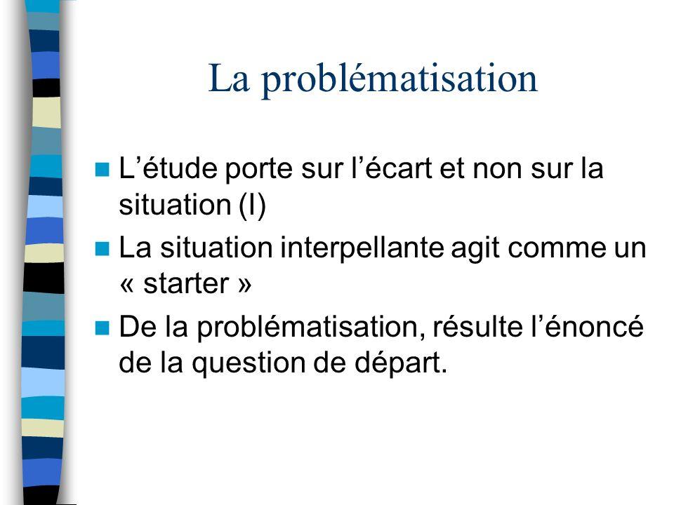La problématisation L'étude porte sur l'écart et non sur la situation (I) La situation interpellante agit comme un « starter »