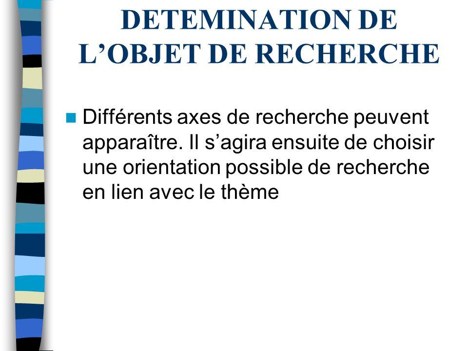 DETEMINATION DE L'OBJET DE RECHERCHE
