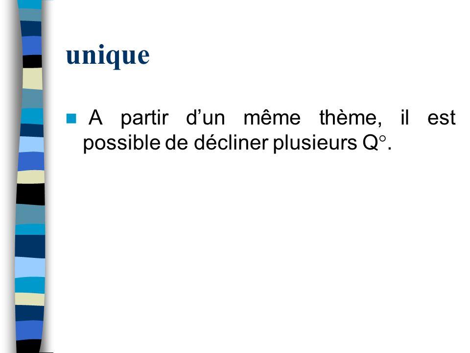 unique A partir d'un même thème, il est possible de décliner plusieurs Q°. Exemple : Thème : l'enfant et l'hôpital.