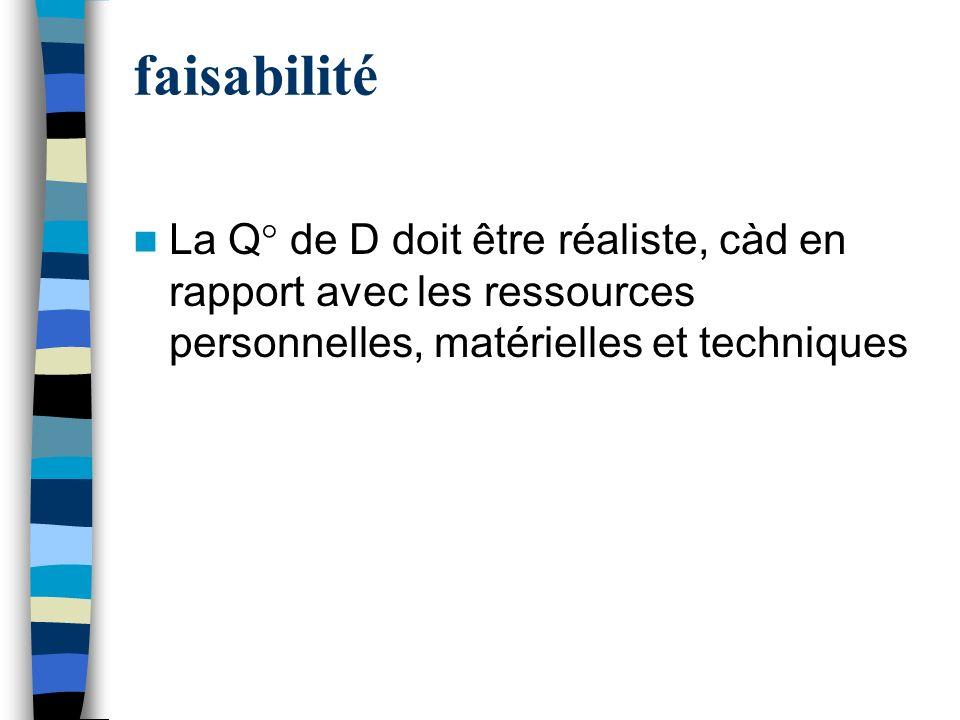 faisabilité La Q° de D doit être réaliste, càd en rapport avec les ressources personnelles, matérielles et techniques.