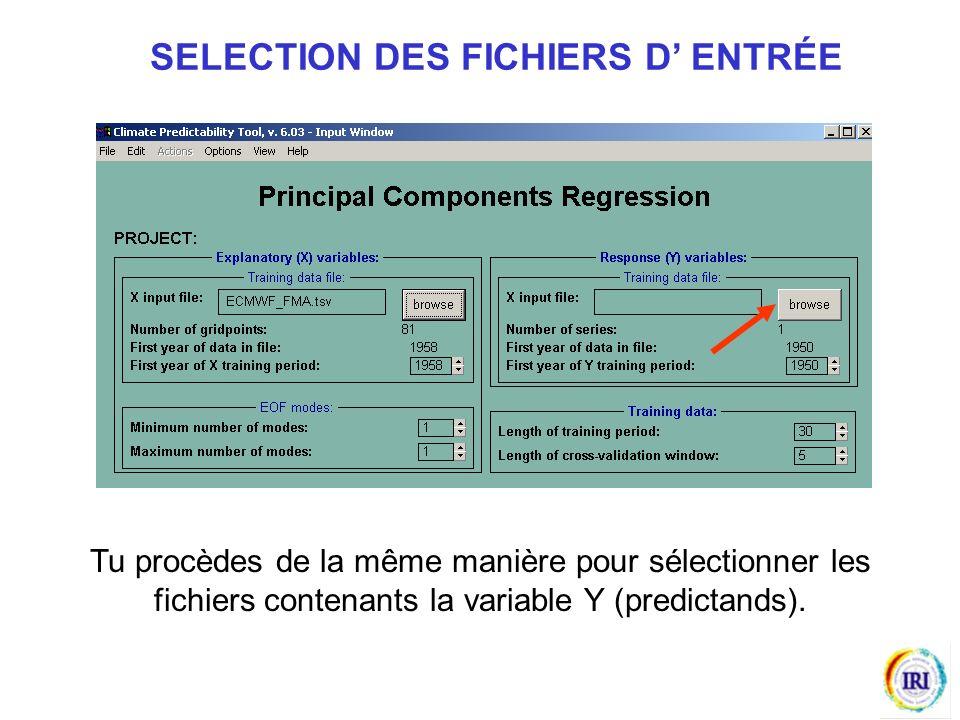 SELECTION DES FICHIERS D' ENTRÉE