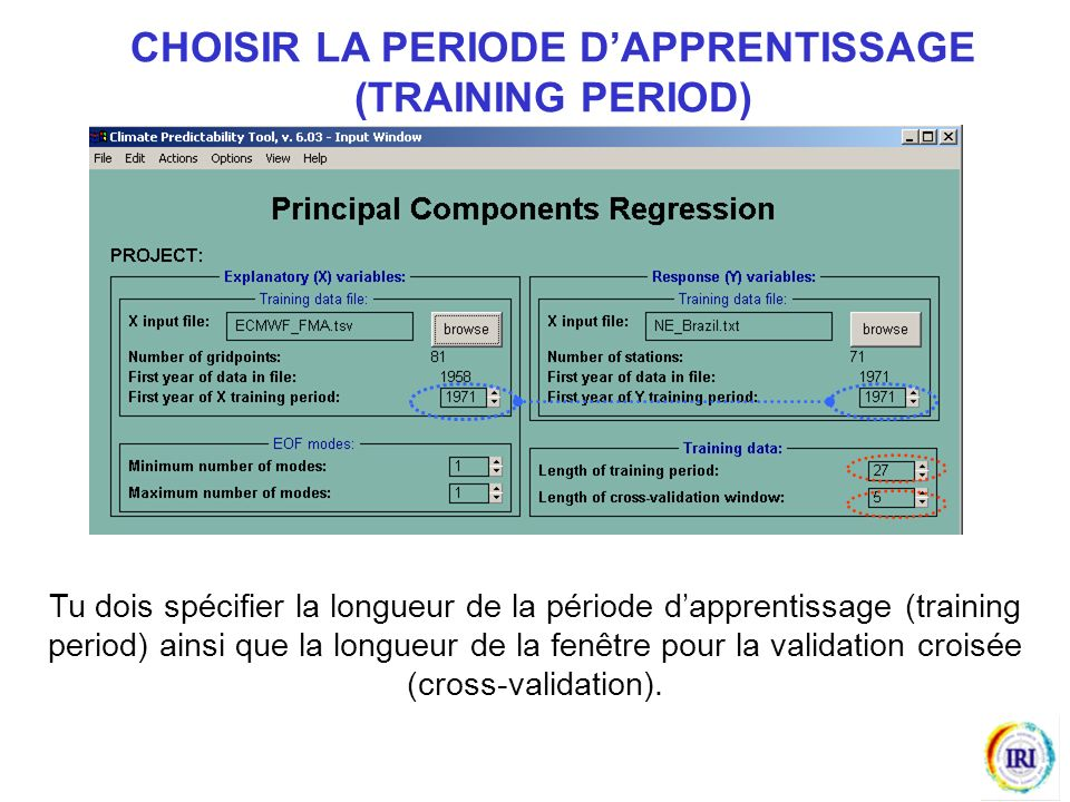CHOISIR LA PERIODE D'APPRENTISSAGE (TRAINING PERIOD)