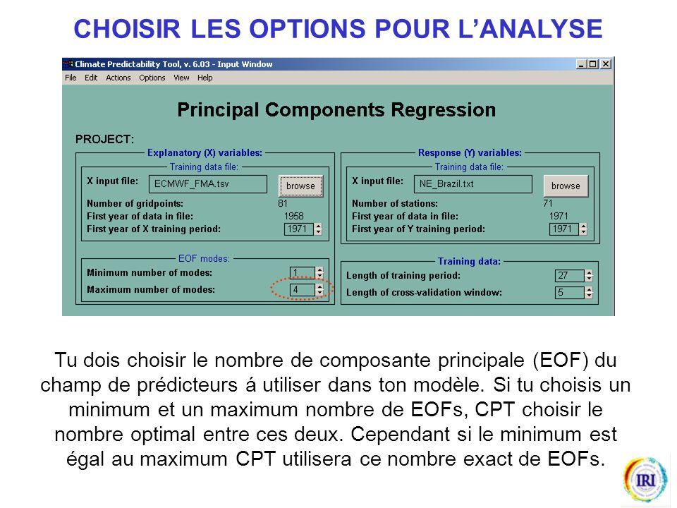CHOISIR LES OPTIONS POUR L'ANALYSE