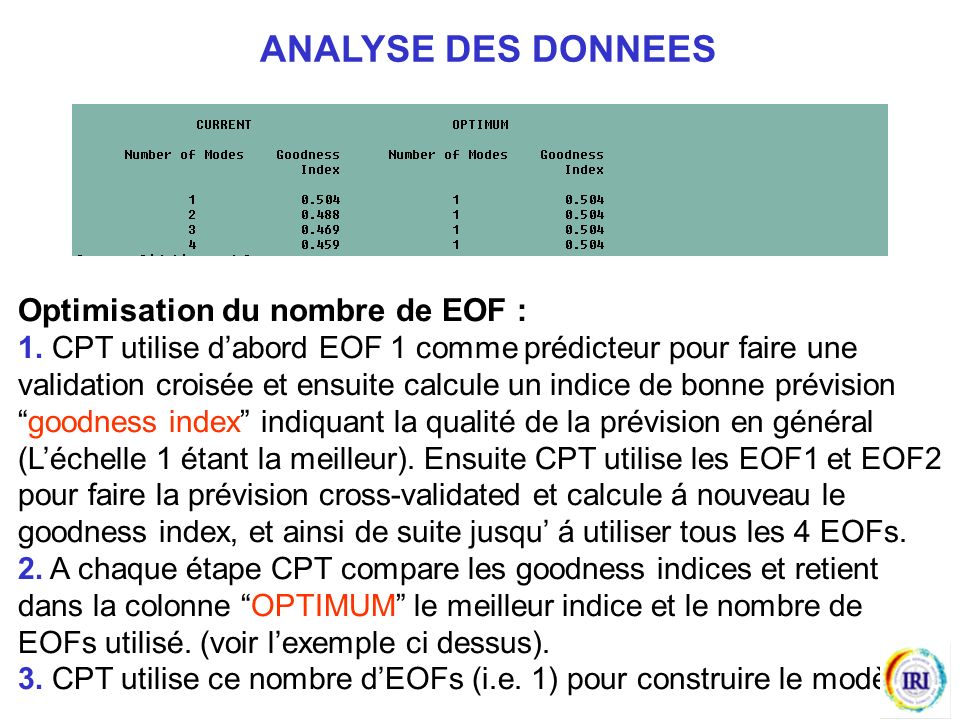 ANALYSE DES DONNEES Optimisation du nombre de EOF :