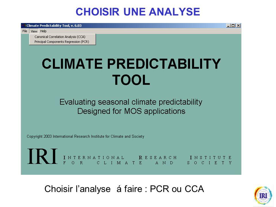 CHOISIR UNE ANALYSE Choisir l'analyse á faire : PCR ou CCA
