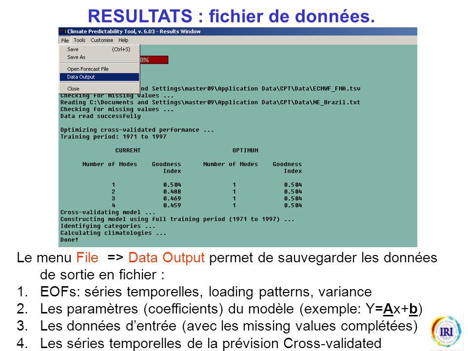 RESULTATS : fichier de données.