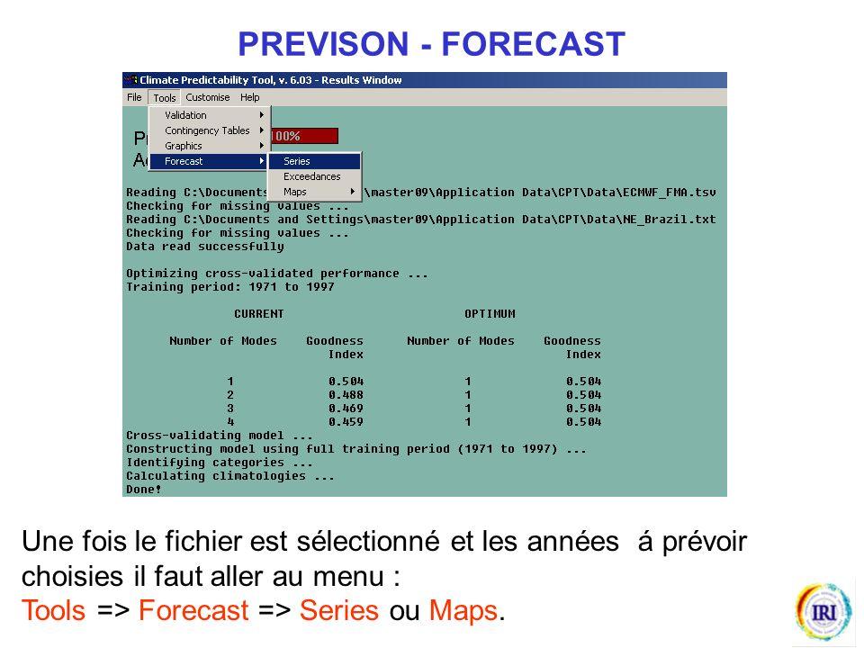 PREVISON - FORECAST Une fois le fichier est sélectionné et les années á prévoir choisies il faut aller au menu :