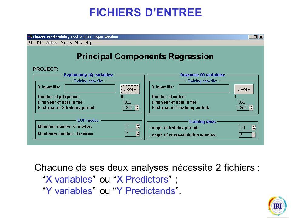 FICHIERS D'ENTREE Chacune de ses deux analyses nécessite 2 fichiers :
