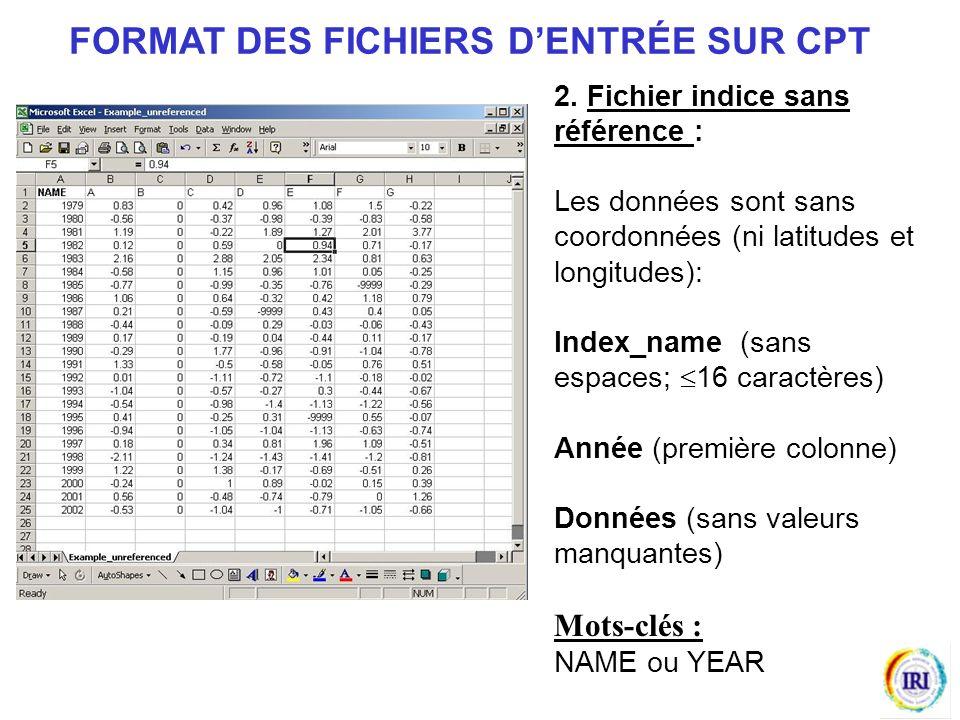 FORMAT DES FICHIERS D'ENTRÉE SUR CPT