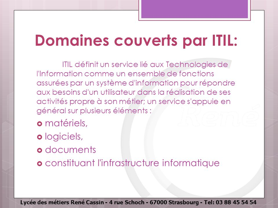 Domaines couverts par ITIL: