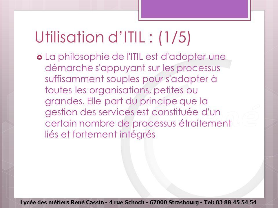 Utilisation d'ITIL : (1/5)