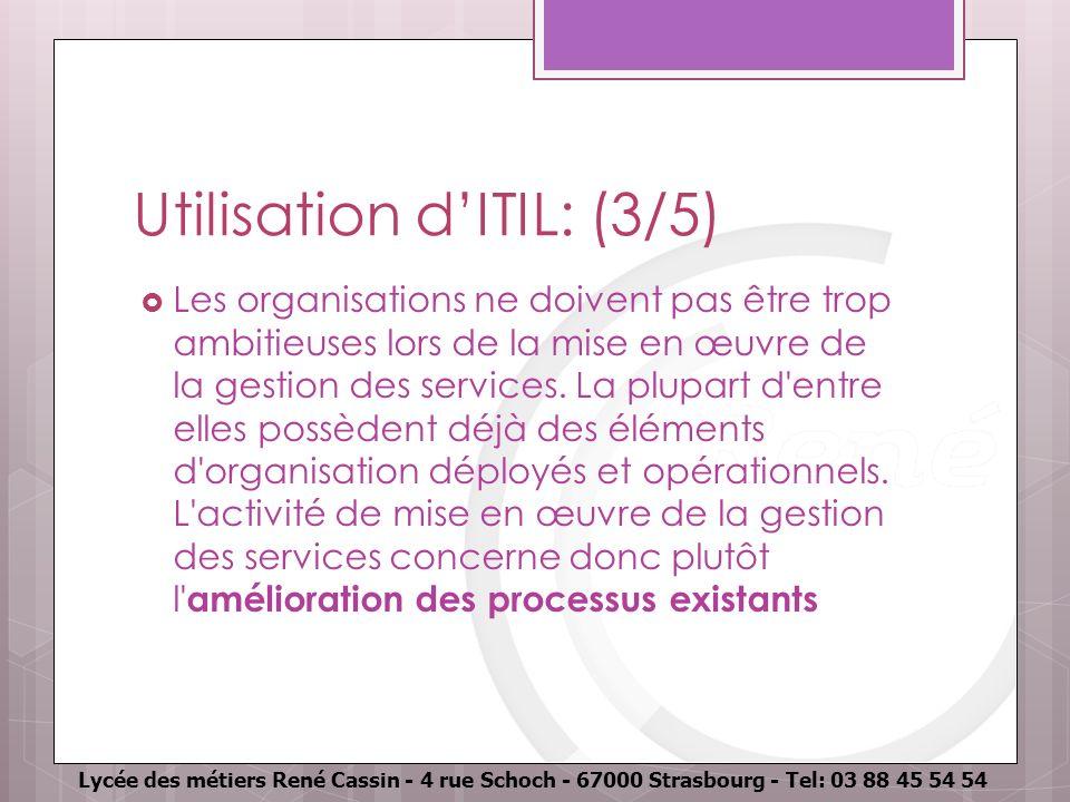 Utilisation d'ITIL: (3/5)