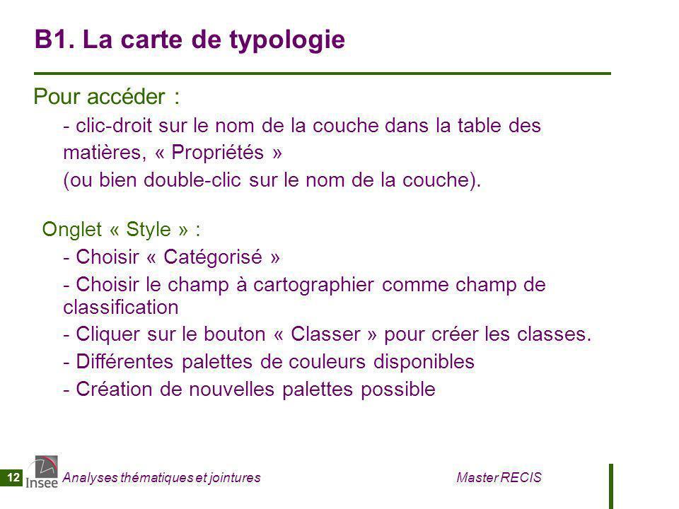 B1. La carte de typologie Pour accéder :