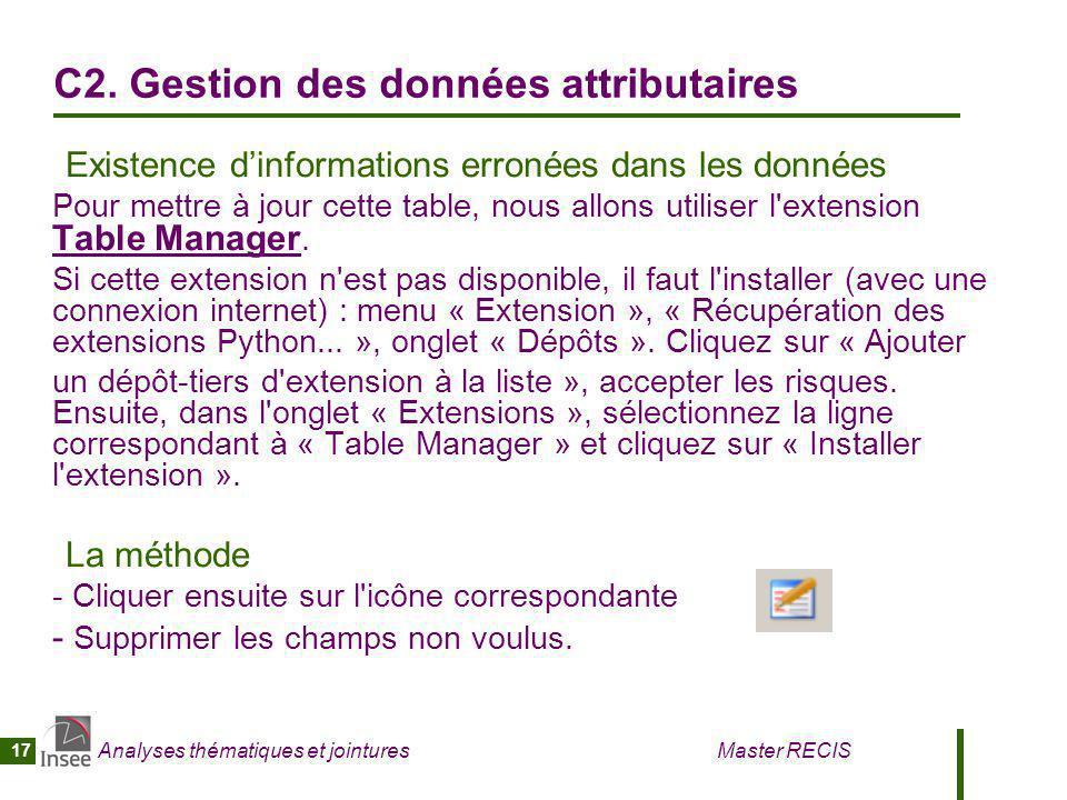 C2. Gestion des données attributaires