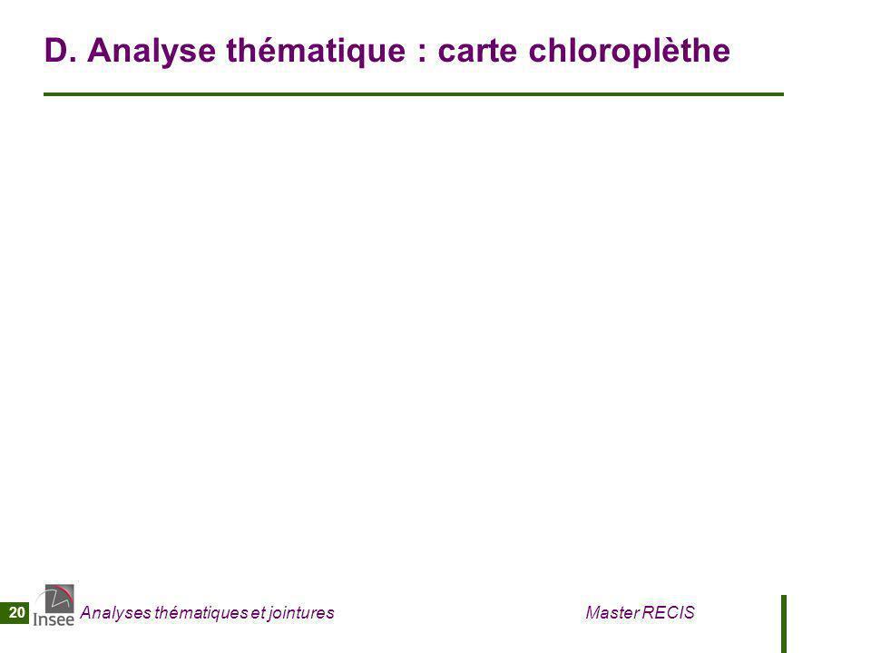 D. Analyse thématique : carte chloroplèthe